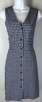 NWT J CREW NEW $98 Navy Blue White Gingham Check Sleeveless Dress 8