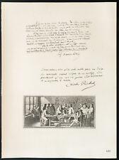 1926 - Lithographie citation Docteur Maurice Letulle, Docteur Ch. Richet