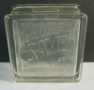 Vintage Cunningham Drug Store Glass Bank-Embossed Two Sides-Detroit-Hamtramck