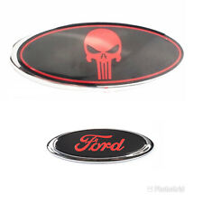 """FORD TRANSIT CUSTOM TOURNEO 9"""" FRONT AND 6"""" REAR RED PUNISHER BADGE EMBLEM"""