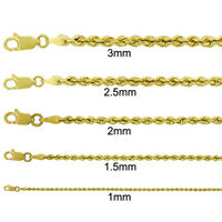 """14k Yellow Gold Mens Womens Solid Rope Cable Chain Necklace 1mm - 3mm 16"""" - 30"""""""