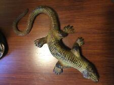 Vintage cold painted bronze life size lizard sculpture