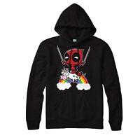 Deadpool Unicorn Hoodie Funny Deadpool Riding Rainbow Top Adult Kids Hoodie Top