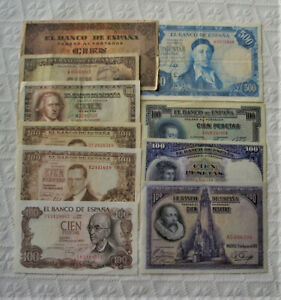 LOTE DE 10 BILLETES ESPAÑOLES VARIADOS DE 100 A 500 PESETAS - BC/MBC+