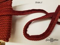 3/8 Twisted Cord W/Lip sold by yard o roll 18 Yards, two tone red