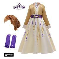 Simile Frozen Anna 2 Vestito Carnevale Bambina Cosplay Costume Dress FROZ009