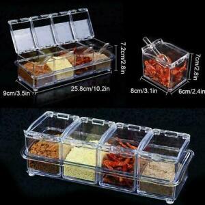 4 Pieces /Set Transparent Seasoning Salt Sugar Storage Box Kitchen Organic Spice