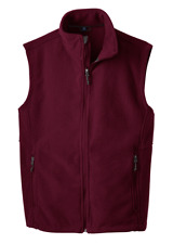 NEW! Port Authority Men's Pocket Polyester Fleece Vest. F219 - Maroon/Size: XS