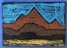Original Oil Pastel Artist Patagonia American 5x7 Folk Art Simplistic Abstract