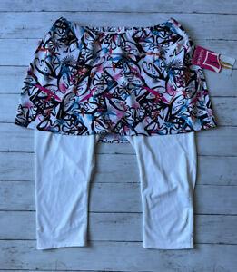 Skirt Sports Women's Sz L Lotta Breeze Pow Print White Capri Colorful Pockets
