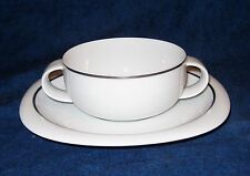 Rosenthal Lanka Suomi Cream Soup Bowl and Saucer with Platinum Band
