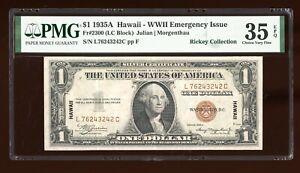 DBR 1935-A $1 Silver Hawaii LC Block Fr. 2300 PMG 35 EPQ Serial L76243242C