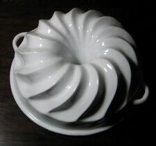 Antique Stoneware White Ironware Swirl Bundt Pan Pudding Jello Aspic Jelly Cake