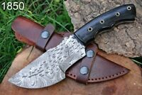 Custom Hand Forged Damascus Steel Tracker Hunting Knife Stain Wood Handle-AJ1850