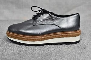 """WHISTLES """"REX"""" VGC Pewter silver leather espadrille platform oxford lace up 5"""