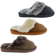 WOMENS LADIES WARM WINTER FAUX FUR SUEDE BEDTIME SHOES SLIPPERS COMFY SIZE 3-10