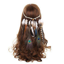 FASCIA Boho INDIANO Hippie PIUMA CAPELLI HAIRDRESS ACCESSORI PER COSTUME