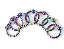 Rainbow LIP EYEBROW NOSE LABRET CAPTIVE Ring DAITH TRAGUS HELIX