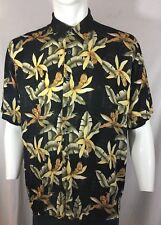 NATURAL ISSUE BLACK SHIRT WITH YELLOW FLOWERS AND SAGE COLORED LEAVES