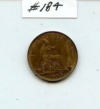 G. Britain 1885 Farthing (#184) Unc. Traces of Red Carefully Check out the Photo