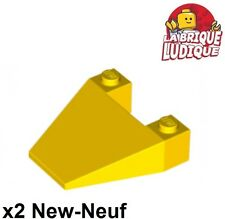 Lego - 2x Wedge 4x4 taper without studs coque capot jaune/yellow 4858 NEUF