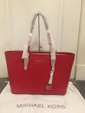 0bc9cfafcc89c9 BNWT Genuine Michael Kors Jet Set Travel Med Multi Func Red Leather Top-Zip  Tote
