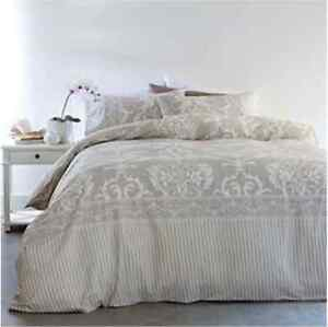 New DAMASK Beige 3pc Doona / Quilt Cover Set - Double Size