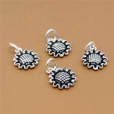 5 Sterling Silver Sunflower Sun Flower Charms Pendants for Bracelet Necklace
