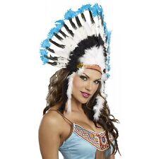Indian Headdress Adult Feather Chief Costume Halloween Fancy Dress