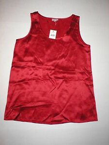 New Designer J. Jill 100% Silk Cami Red Tank XS Womens Sleeveless Top NWT