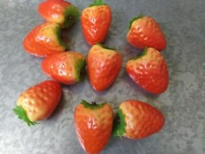 """10 Artificial Foam Strawberry Fake Fruits 2"""" Home Decor Craft Projects"""