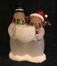 Snowman Candle Holder - Pair of Snowmen holds Votive Candle