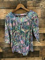 Westbound Women's Multicolor Floral Print Cold Shoulder Peasant Top Size S