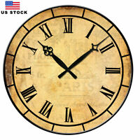 """15"""" Large Wall Clock Home Decor Retro Vintage European Style Time Day"""