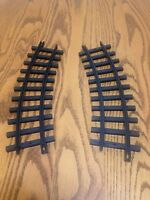 2 new bright g scale black plastic curved train tracks for replacement 1986