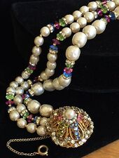 Vintage Miriam Haskell Bracelet~Pearls/Multi-Color Crystals/RS/Gold Tone~Signed