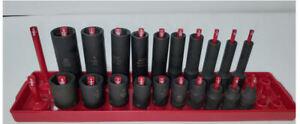 "Matco Tools ADV 20 Deep & Shallow Impact Sockets 9/16 thru 3/16 1/4"" Drive 6 Pnt"