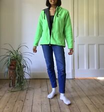 Reebok Retro Bright Neon Green Fleece Jacket Zip Down Sherpa S M L 8 10 12 Thick