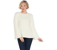 G.I.L.I. Women's Peplum Sweater with Rib Knit Detail Top Vanilla, Size 1X, QVC