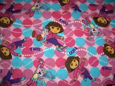 Dora the Explorer Best Friends Pink Turquoise Dots Cotton Quilt Fabric BTY