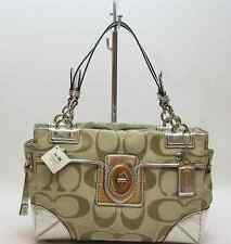 Coach Outlined Signature Peyton Sateen Metallic Carryall Bag Shoulder Bag Purse