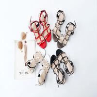 Rivet Sandals Heel Strap Studded Womens Block Size 3-8 Ankle Ladies Shoes