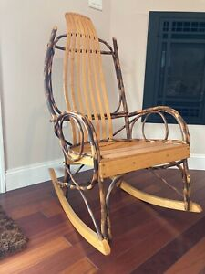 Hickory Amish Rocking Chair Natural Made Of Rustic Tree Branches