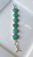 Ladies Sterling Silver Green Turquoise Stone Bracelet