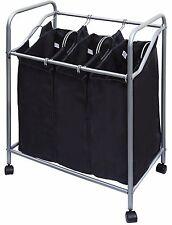 Triple Laundry Sorter Hamper Chrome/black 1620-11