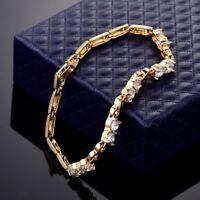 "18k Yellow Gold Filled Charms Swarovski Crystal Ladies Chain Link Bracelet 7.5"""