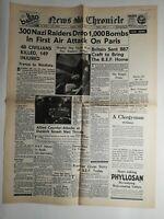 N275 La Une Du Journal News chronicle 4 june 1940 300 nazi raiders drop