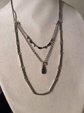 Lucky Brand  3 Strand Silver Tone Necklace W/ Removable Bracelet $49. LK9a
