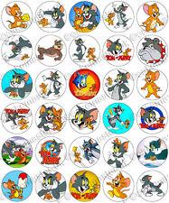 30 x Tom et Jerry partie comestibles riz tranche papier Cupcake toppers