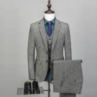 Grey Man Suit 3 Pieces Blend Tweed Men Suit Formal Wedding Groomsman Prom Tuxedo